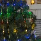 """Гирлянда """"Конский хвост (капля росы)"""", 15 золотистых нитей по 2 м, LED-300-6V-220V, нить прозрачная, свечение мульти"""