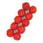 Шар из лозы, набор 10 шт, 3,5 см,красный