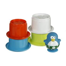 Игрушки для купания «Весёлые пингвины» со стаканчиками, 5 предметов