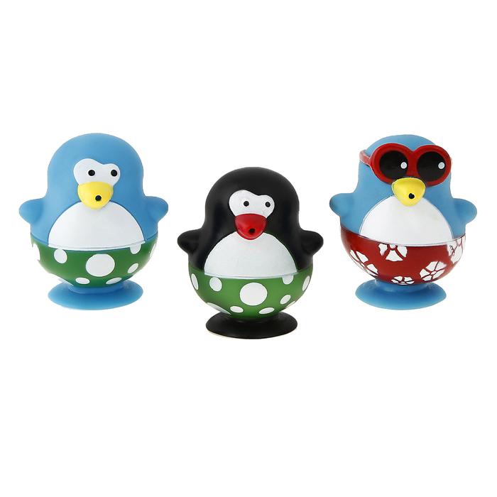 Игрушки для купания «Весёлые пингвины 2», брызгалки, на присоске - фото 105534080