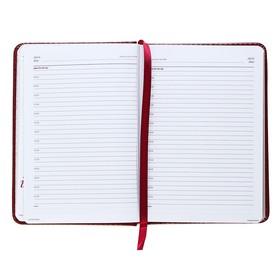 Ежедневник недатированный А6+, 136 листов Sidney Nebraska, искусственная кожа, золотой срез, ляссе, бордовый