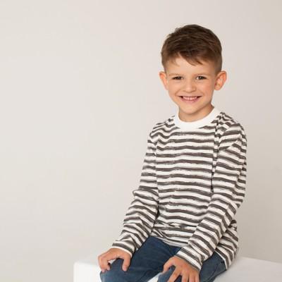 Джемпер для мальчика, рост 104/4 года, коричневая полоска набивка