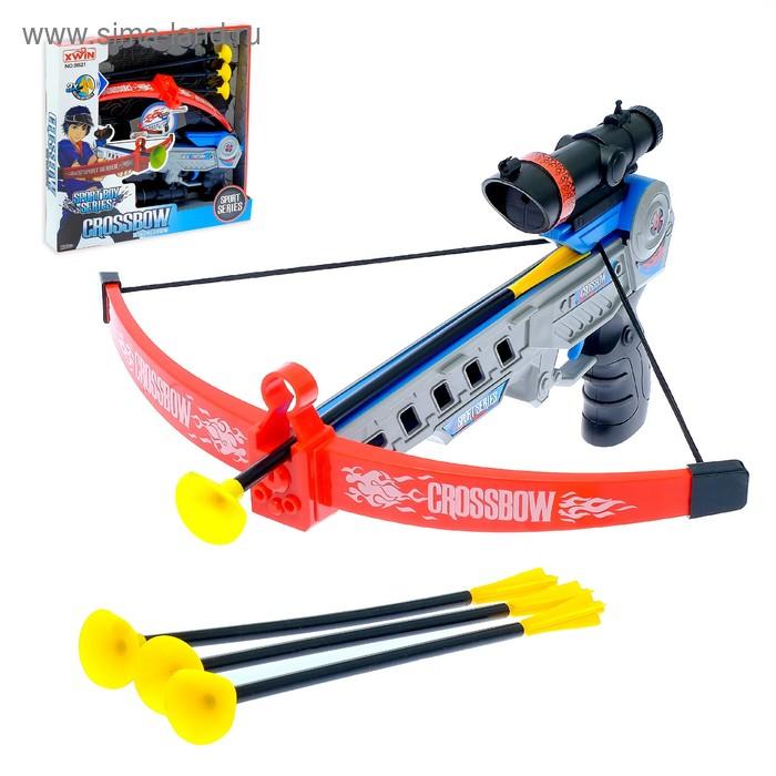 """Арбалет """"Спорт"""", стреляет присосками, с лазерным прицелом, работает от батареек"""