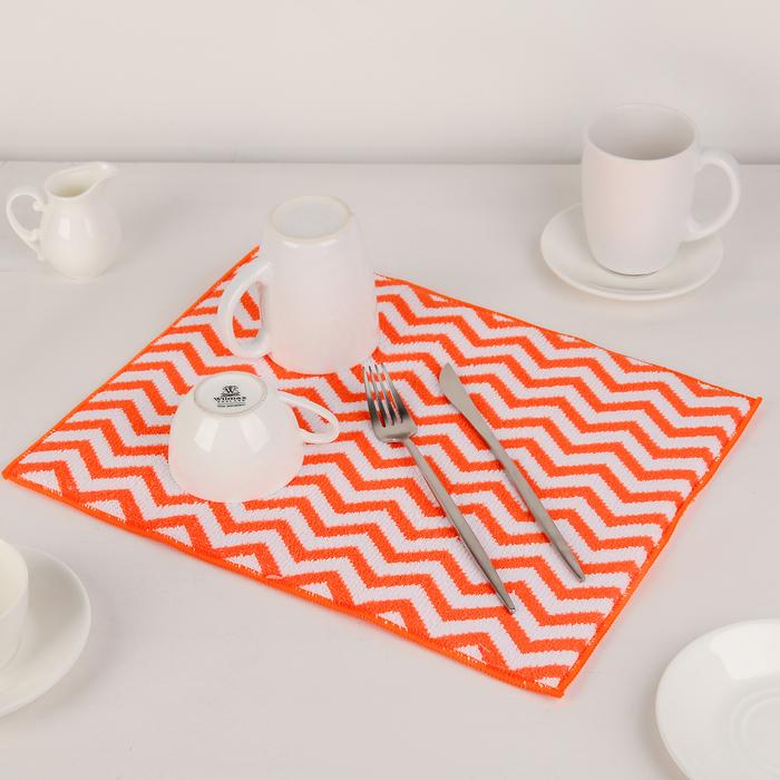 """Коврик для сушки посуды 30×40 см """"Зигзаг"""", микрофибра, цвет оранжевый"""
