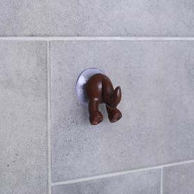 Крючок на вакуумной присоске «Хвостик лошадки», цвет коричневый