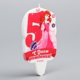 Свеча в торт цифра Дисней 5 'С Днем Рождения', Принцессы: Русалочка Ош