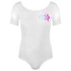 Купальник гимнастический Star х/б, короткий рукав, размер 30, цвет белый