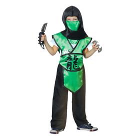 Карнавальный костюм «Ниндзя. Иероглиф — дракон», р. 28, рост 98-104 см, цвет зелёный