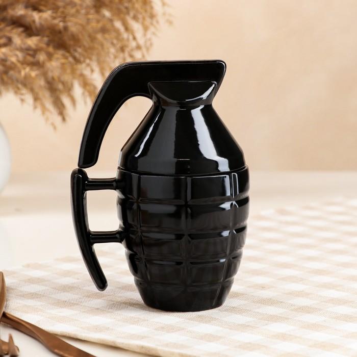"""Кружка """"Граната"""", чёрная, керамика, 0.25 л - фото 655790"""
