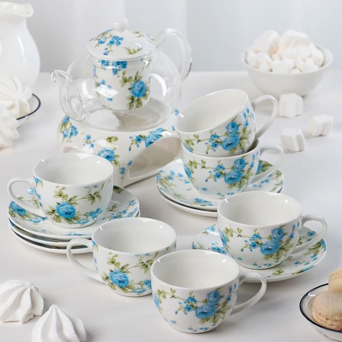"""Набор чайный """"Кокетка"""", 6 предметов: чайник 400 мл, подставка, 2 чашки 250 мл, 2 блюдца d=12,5 см"""