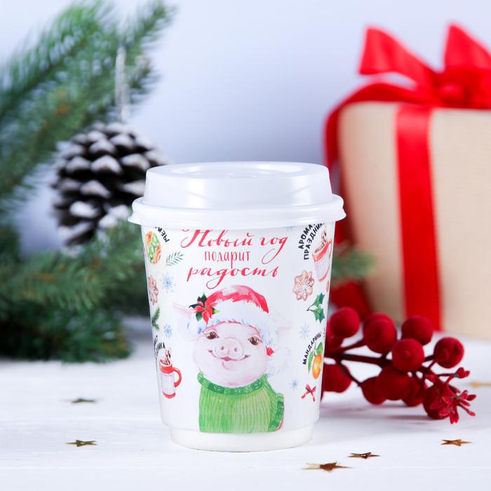 """РЯД из 2 ШТ!Кофе молотый в бумажном стакане 30 г """"Новый год подарит радость"""""""