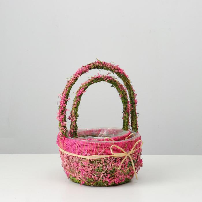Набор корзин «Цветочный бантик», 2 шт, 22×12/32 см, 16×10/26 см, трава