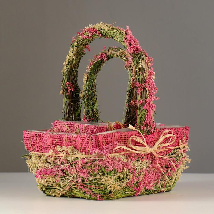 Набор корзин «Цветочный бантик», 2 шт, 25×17×11/28 см, 19×10×9/22 см, трава