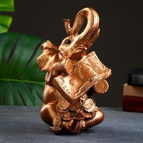 "Копилка ""Слон с деньгой"" бронза 14х14х24см"