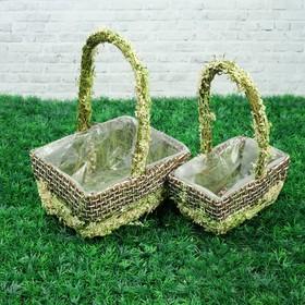 Набор корзин «Цветочный бантик», 2 шт, 20×16×10/28 см, 17×11×9/25 см, трава