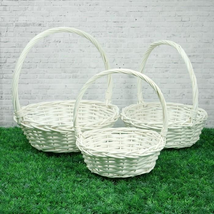 Набор корзин «Плетёнка», 3 шт, 38×13/41 см, 34×11/38 см, 30×9/34 см, ива
