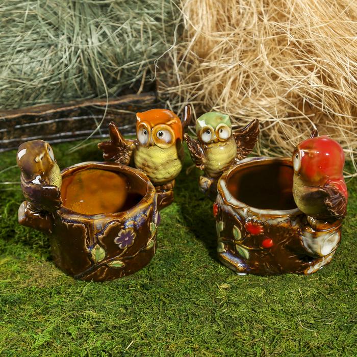 """Сувенир керамика мини-кашпо """"Два филина"""" МИКС 11,5х16х10 см - фото 798066043"""