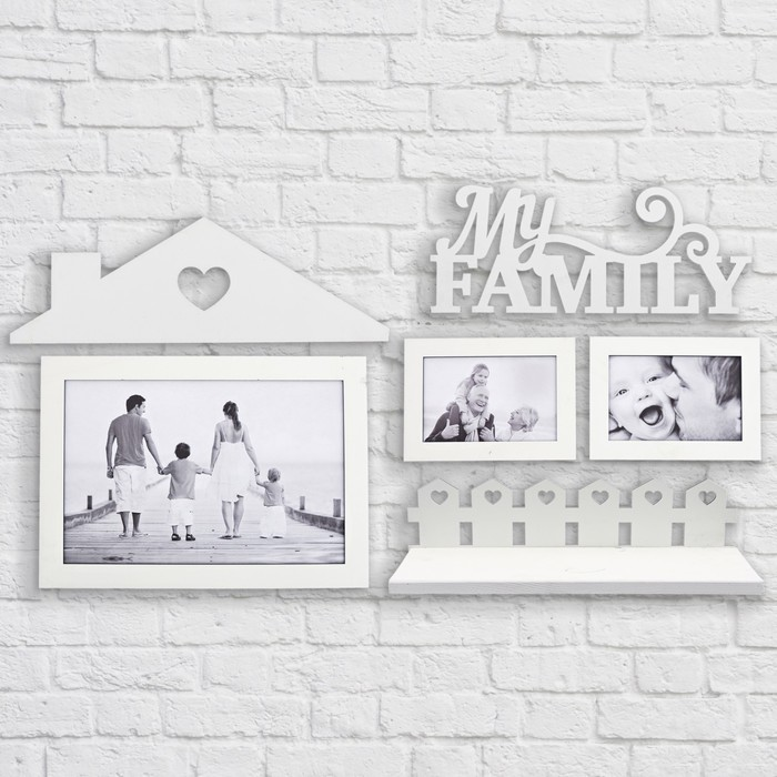 """Набор фоторамка, полка на стену """"My family"""""""