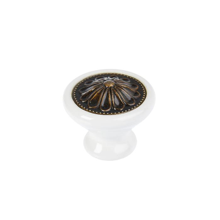 Ручка кнопка Ceramics 005-L, керамическая, белая - фото 699024297