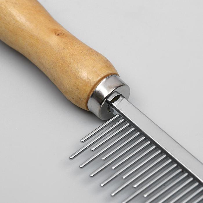 Расчёска-разнозуб с деревянной ручкой, 19,5 х 3,5 см - быстрая доставка