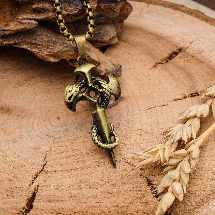 """Кулон унисекс """"Крест"""" со змеёй, цвет чернёное золото, 60 см"""