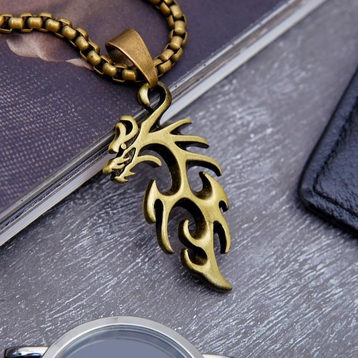 "Кулон унисекс ""Дракон"" абстракция, цвет чернёное золото, 60 см"