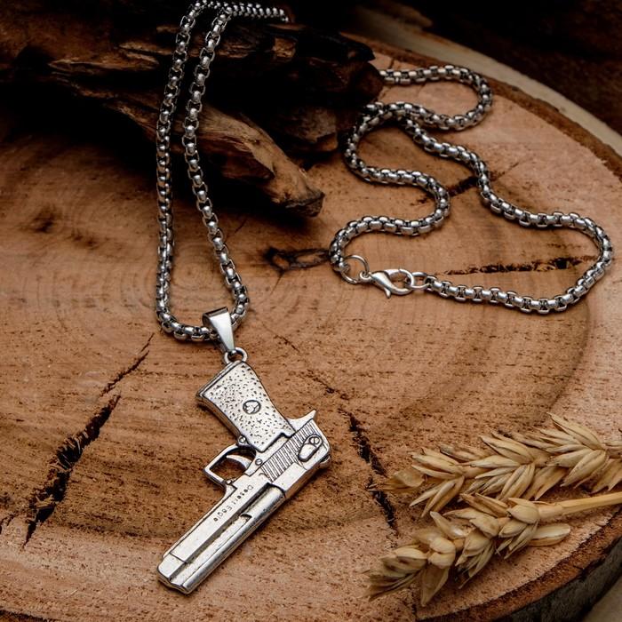 "Кулон унисекс ""Пистолет"", цвет чернёное серебро, 60 см"