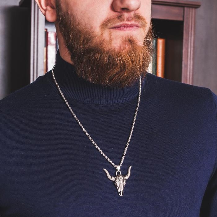 """Кулон мужской """"Бык"""", цвет чернёное серебро, 60 см"""