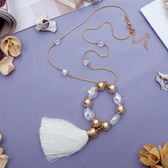 """Кулон """"Кисть с кругом"""" овалы, цвет белый в золоте, 50 см"""