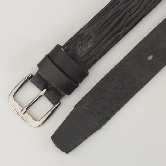 Ремень мужской, пряжка тёмный металл, ширина - 3 см, цвет чёрный
