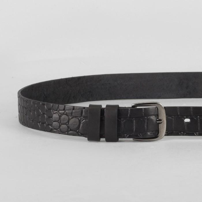 Ремень мужской, крокодил, пряжка тёмный металл, ширина - 3 см, цвет чёрный