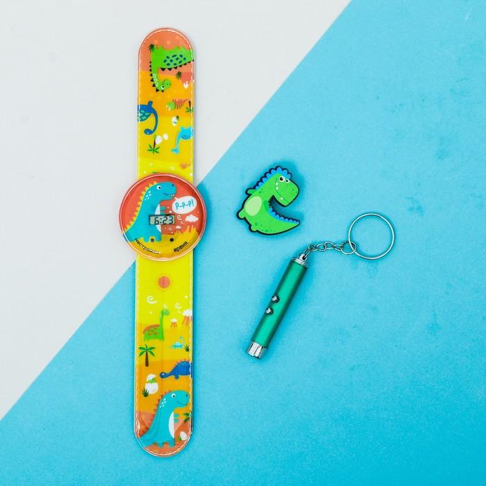 """Набор часы наручные, значок, игрушка """"Динозавры"""""""
