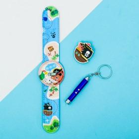 Набор «Пираты», часы наручные, значок, игрушка, 13,5 х 25 см