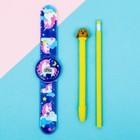 Набор «Единороги», часы наручные, ручка, карандаш, 13,5 х 26,5 см - фото 468425