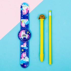 Набор «Единороги», часы наручные, ручка, карандаш, 13,5 х 26,5 см