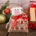 """Мешок для подарков """"Хрюша"""" с красным орнаментом, вместимость 100 г"""