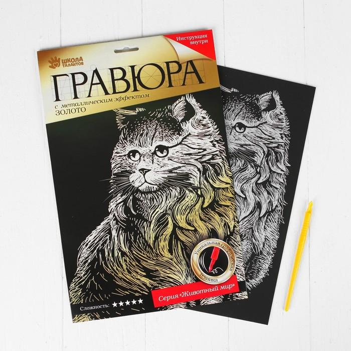 """Гравюра """"Персидский кот"""" с металлическим эффектом золота А4 + штихель"""