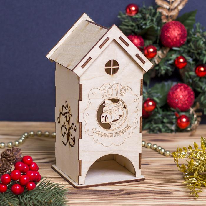 """Чайный домик для декора """"С Новым Годом 2019"""" из фанеры, набор 9 деталей 10х9х19 см"""