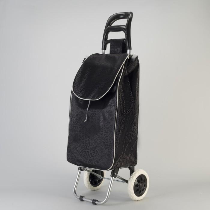 Сумка хозяйственная на колёсах «Буквы», отдел на шнурке, наружный карман, нагрузка до 20 кг, цвет чёрный