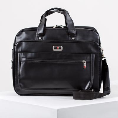 Men's bag, 2 Department zip, 3 outer pockets, a fastener for a bag, long strap, color black