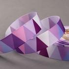 Лента репсовая «Треугольники», 25мм, 18±1м, цвет фиолетовый