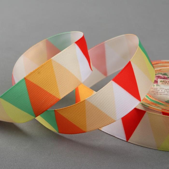 Лента репсовая «Треугольники», 25 мм, 18 ± 1 м, цвет жёлтый