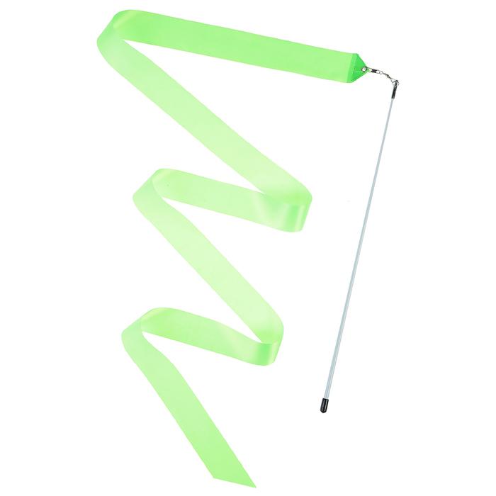 Лента гимнастическая с палочкой 4 м, цвет зелёный