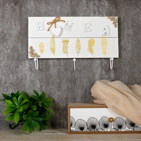 "Крючки декоративные дерево ""Золотые пёрышки. Home"" 18,5х30х5 см"