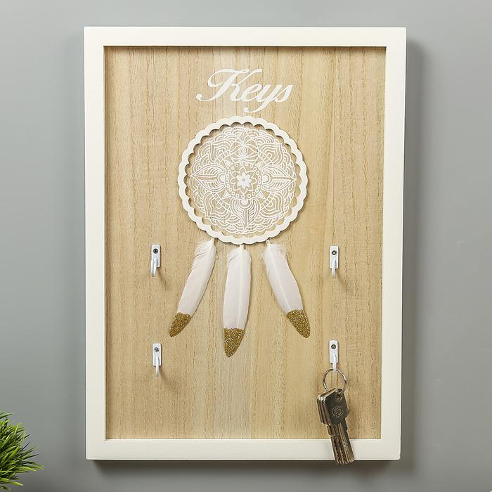 """Крючки декоративные дерево """"Кружевной ловец снов с пёрышками"""" 36х26х2,5 см"""