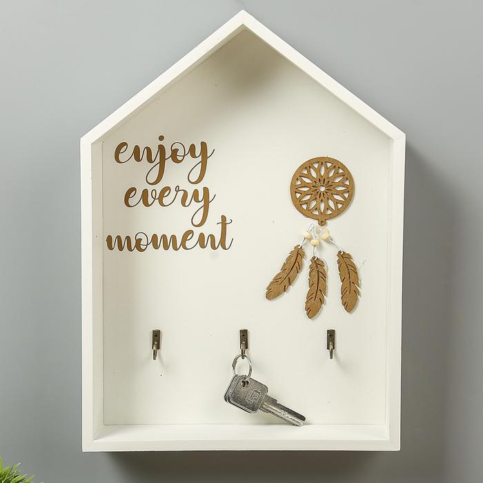 """Крючки декоративные дерево """"Ловец снов. Enjoy every moment"""" домик 33,5х24х6 см"""