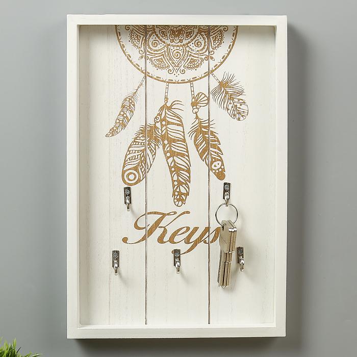 """Крючки декоративные дерево """"Золотой ажурный ловец снов"""" 30х20х3 см - фото 147342173"""