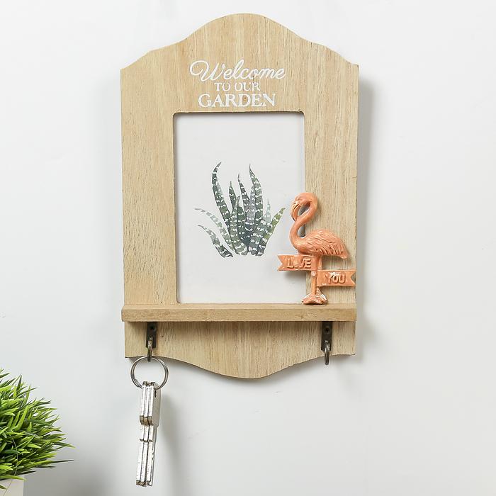 """Крючки декоративные дерево с фоторамкой 9х12,5 см """"Фламинго"""" 22,5х14,5х3 см"""