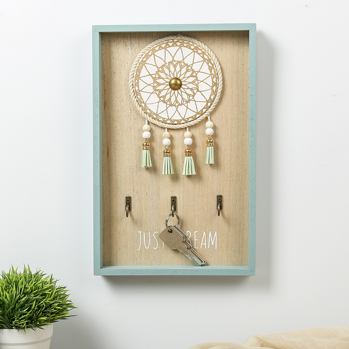 "Крючки декоративные дерево ""Ловец снов"" зелёный 31х20х3 см"
