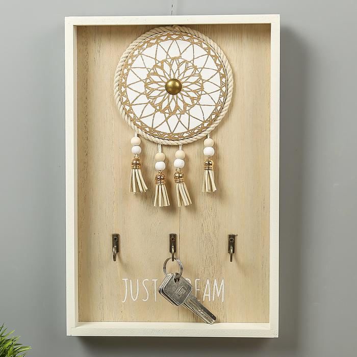 """Крючки декоративные дерево """"Ловец снов"""" белый 31х20х3 см"""